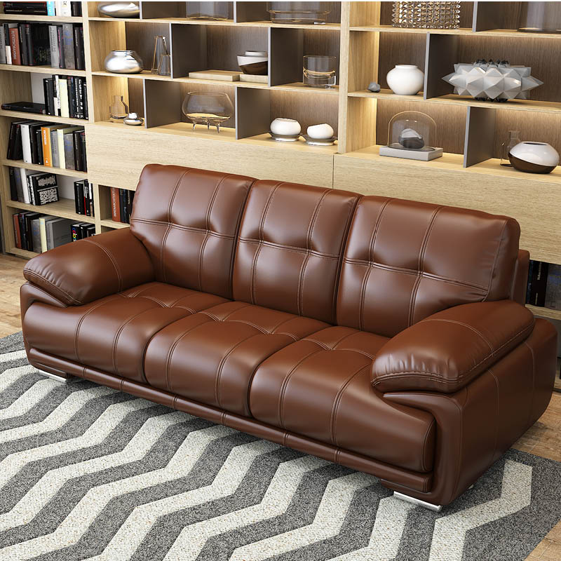 Nordic leather sofa top layer cowhide modern simple small family living room single double triple combination Brown
