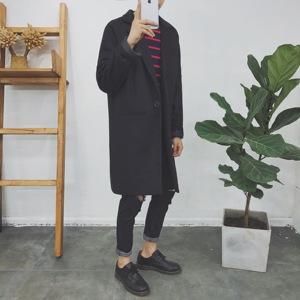 中长款风衣男外套秋冬季韩版修身青年男士毛呢外套男装呢大衣