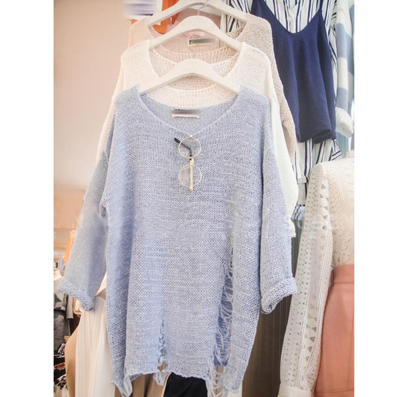 Корея, покупка падение моды отверстие тонкий низкой круглой шеи пуловеры свитера кондиционирования воздуха в сплошной цвет с длинным рукавом свободные женщины рубашки