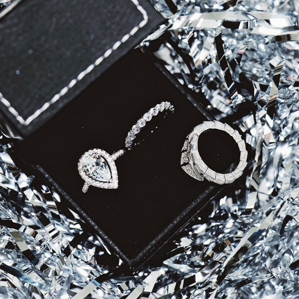 欧美新品水钻闪钻密镶锆石鸽子蛋饰品女戒指精致指环尾戒简约