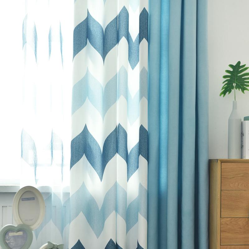 新款美式北欧风格窗帘成品几何简约现代遮光客厅卧室落地棉麻拼接
