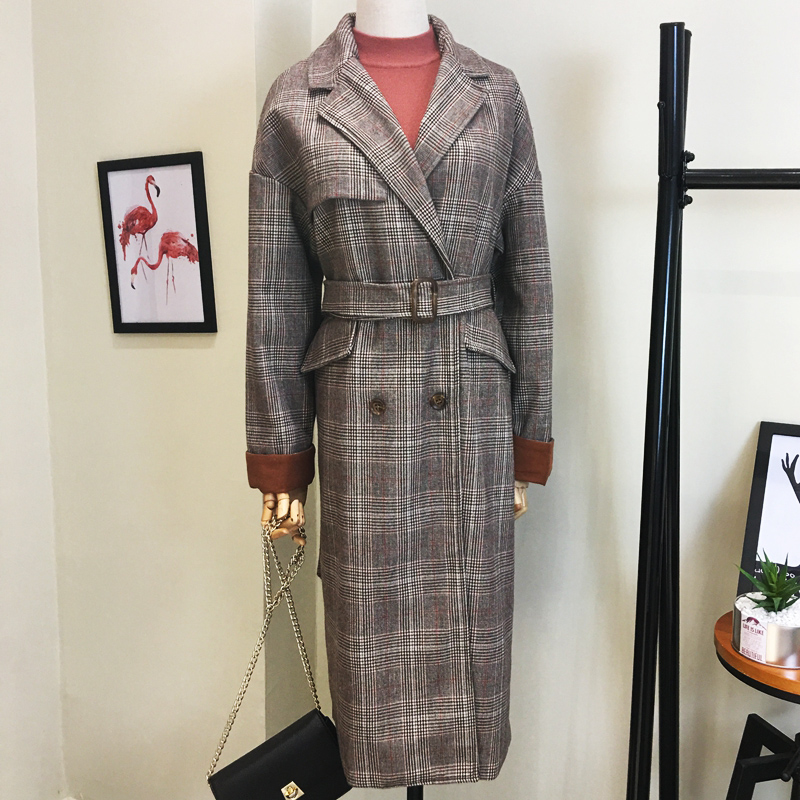 Plaid Wool Coat womens mid long autumn winter Korean 2017 new loose and thickened Hong Kong style fashion coat womens wear