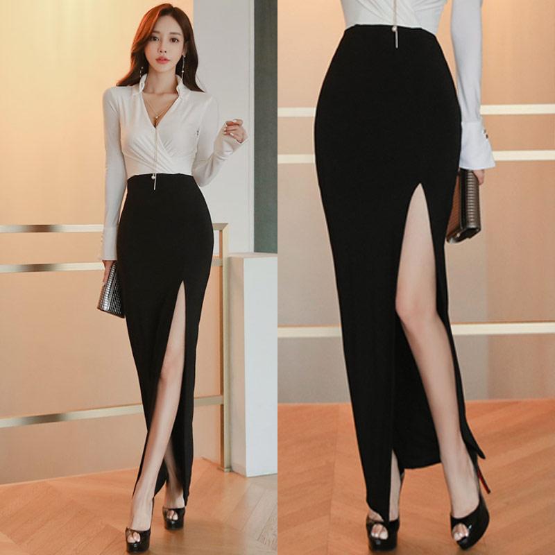 法式复古裙半身长裙脚踝新款高腰一步裙超长显瘦侧开叉性感包臀裙72.00元包邮