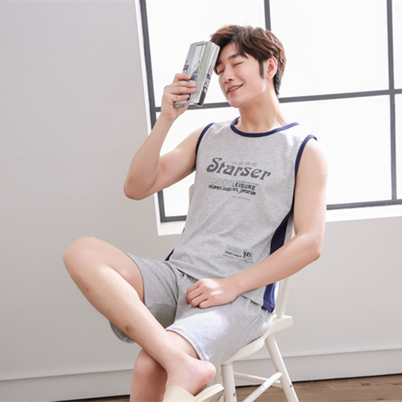 Mens pajamas summer cotton vest shorts plus size thin summer mens short sleeved home clothes sleeveless suit