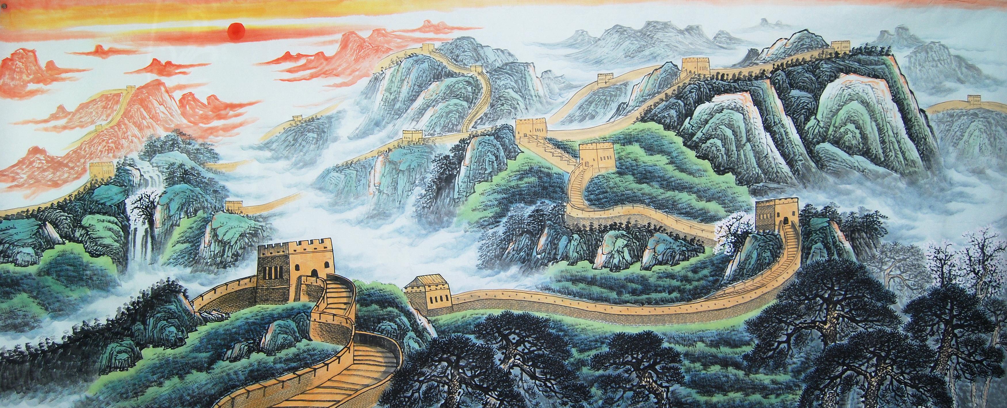 纯手绘小八尺国画长城山水客厅挂画