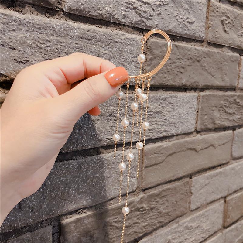 韩版时尚耳饰品单只珍珠流苏春款耳钉耳环女
