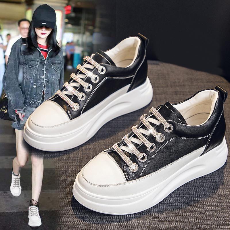 厚底内增高小白鞋女2020新款夏季薄款女鞋百搭学生爆款真皮透气潮