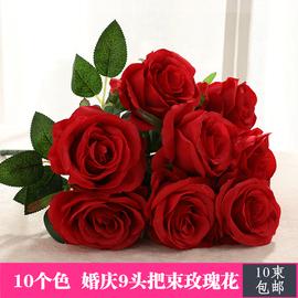9头把束玫瑰仿真假花大朵绢花婚庆花墙装饰客厅摆设路引插花批 发图片