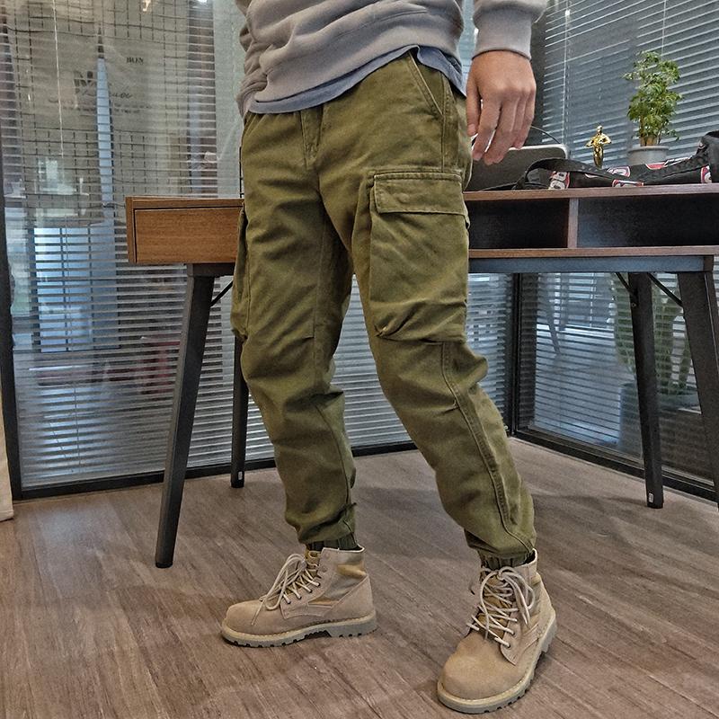 石头家新款秋季做旧纯色束口收口裤满155.00元可用1元优惠券