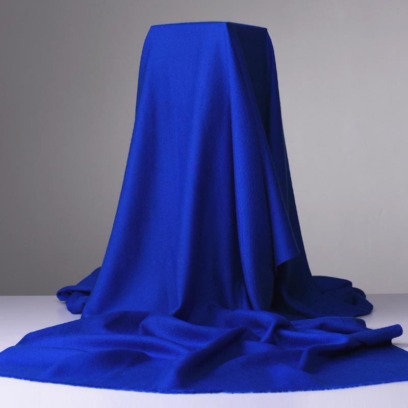 Sapphire blue black 80 thread long pure wool warm scarf