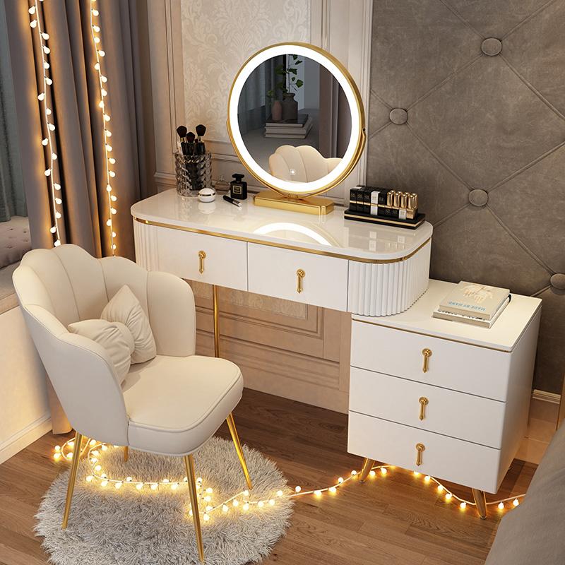梳妆台卧室现代简约小户型北欧轻奢网红ins风化妆桌子收纳柜一体