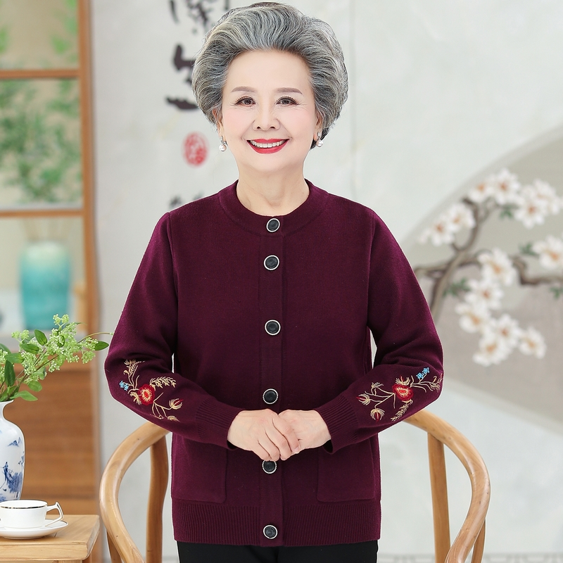 Spring and autumn clothes for the elderly female 6070 years old Plush sweater cardigan grandmother sweater mothers coat