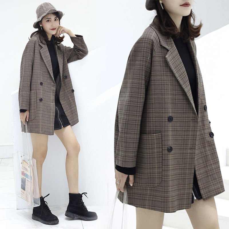 Hong Kong style retro plaid coat chic Blazer spring 2020 new ins loose and slim casual coat for women
