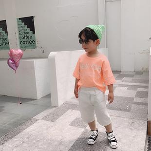 小也先森2019新款童装夏装男女童短袖T恤时尚潮流上衣宝宝五分袖