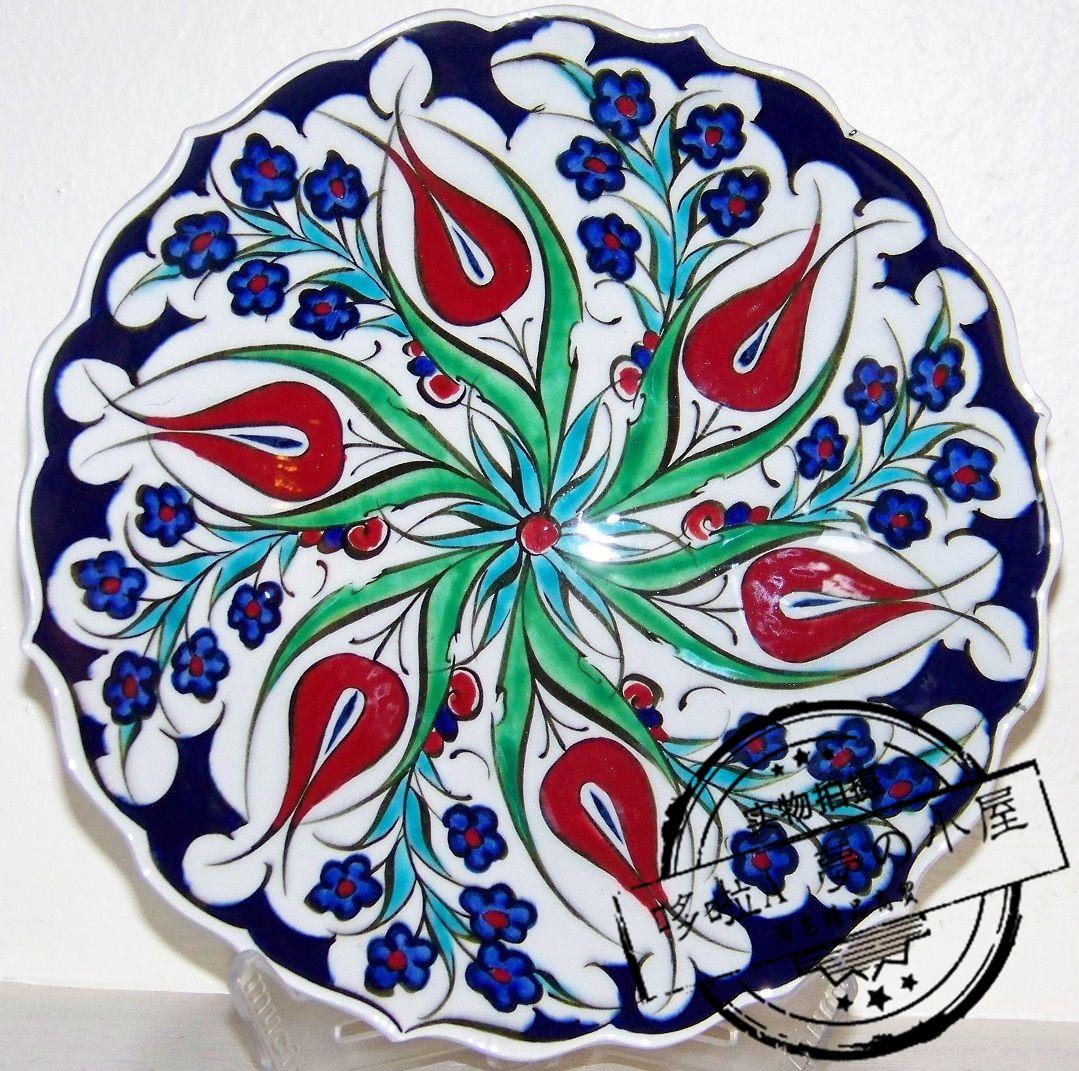 代购 土耳其装饰盘子 蓝黛西红郁金香 奥斯曼帝国手工白瓷陶瓷盘