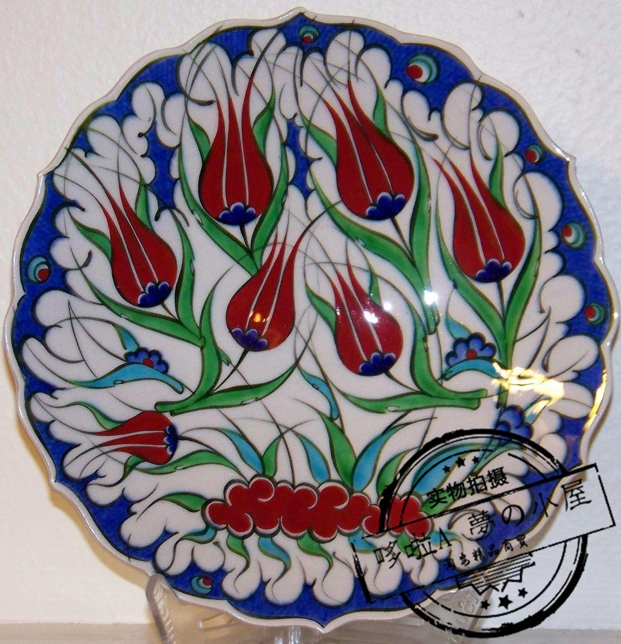 代购 土耳其装饰盘子 白瓷红色郁金香718厘米 陶瓷盘挂盘摆件餐具