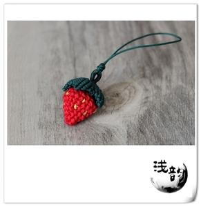 小草莓 可爱吊坠手机链 草莓项链 编绳DIY材料包全店满58包邮