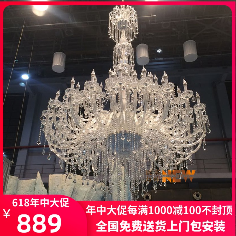 European style chandelier living room lamp stair lamp long chandelier Luxury Hotel Villa hollow compound building crystal chandelier