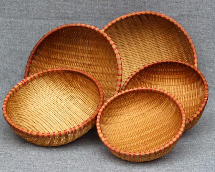 竹编托盘日式豆腐圆形炒货编织柳条干果小号点心制品晾晒东西面粉