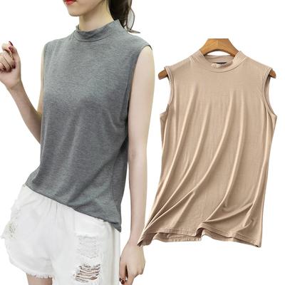 背心女2020夏新款莫代尔半高领无袖甜美上衣小衫大码修身打底衫
