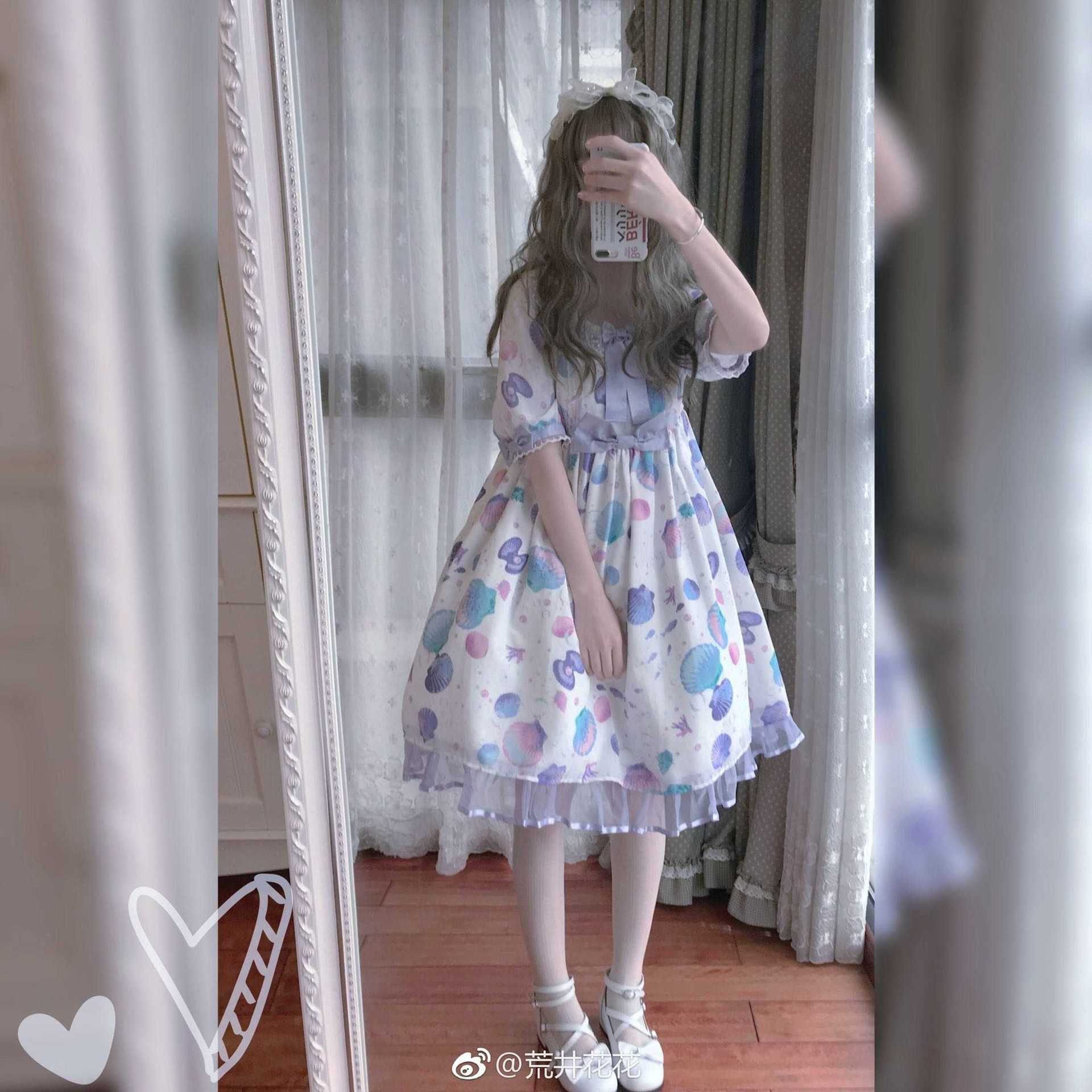 バッグは日本系ソフト妹の夏の装いLolita貝殻opワンピースlolitaシフォン半袖プリンセスのワンピースです。