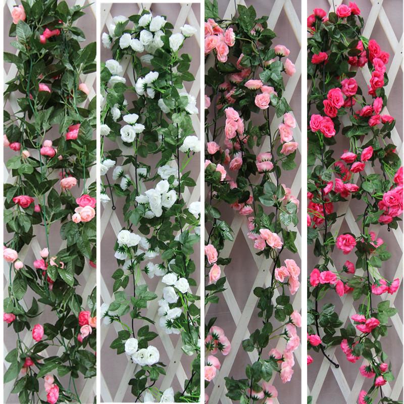 Imitation rose vine gardening wedding decoration flower ceiling hanging wall green plant flower wall string silk flower pipe
