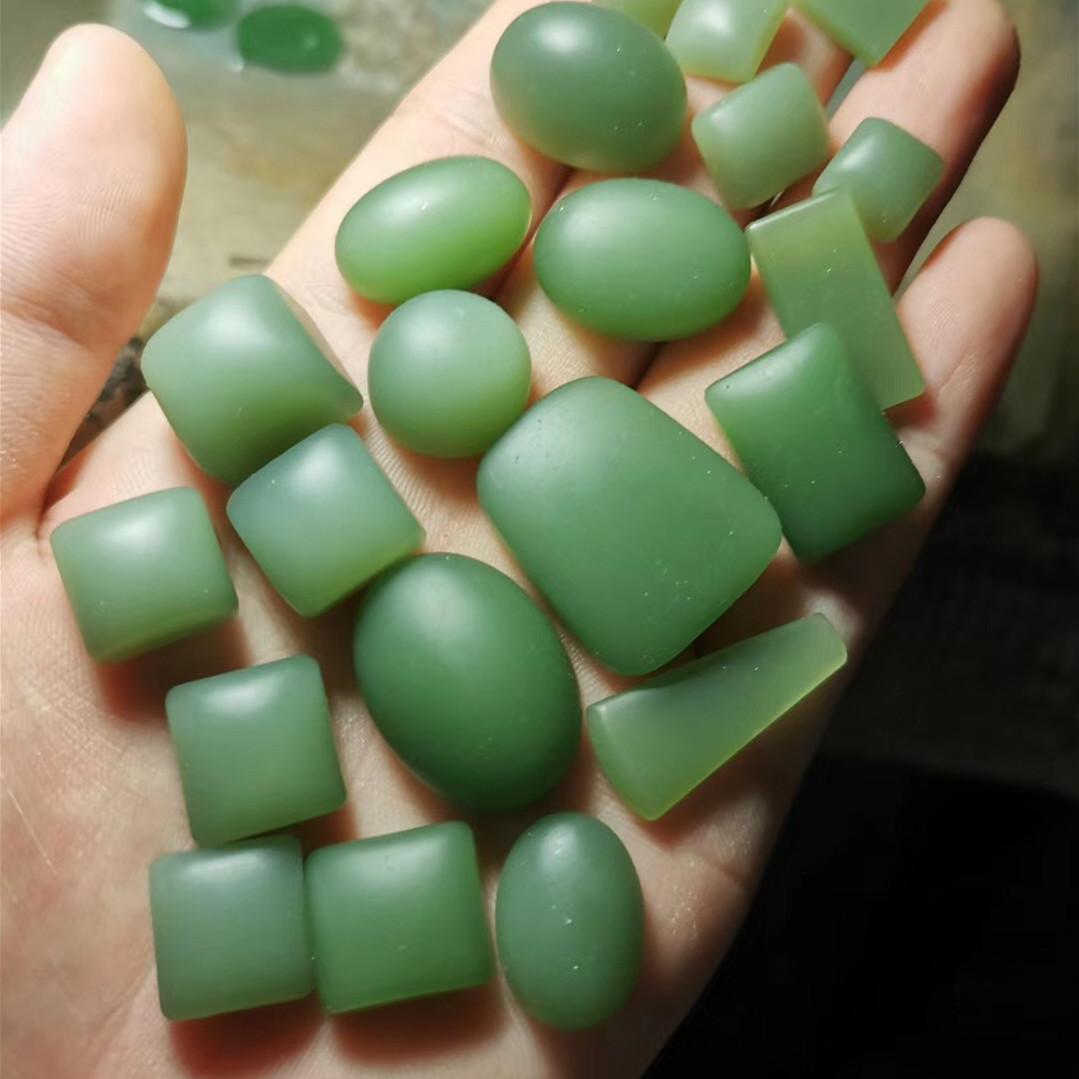 Hetian jade powder green unstructured ring face square egg surface duck egg green smoke purple lotus root powder white jade Matt ring