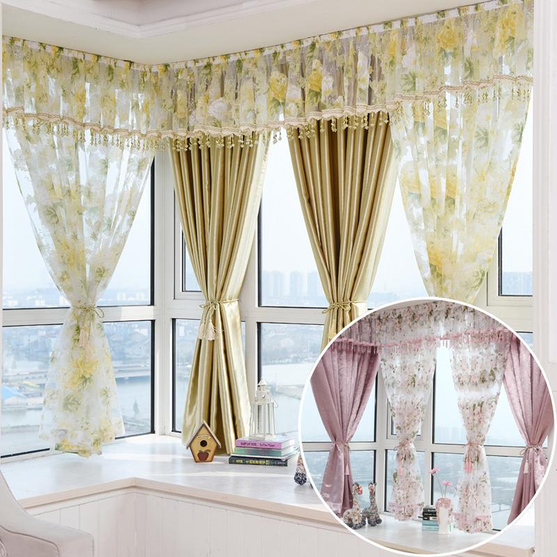 飘窗窗帘田园遮光布料成品窗纱短�半帘客厅卧室婚房定制新品包邮