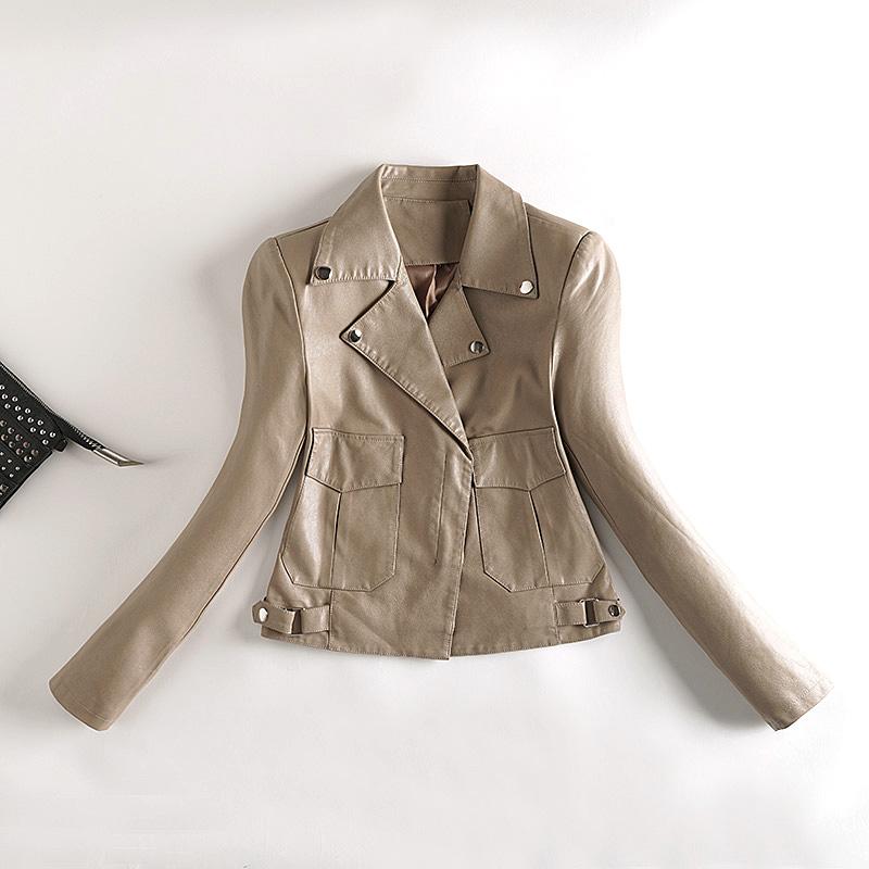 秋水洗小皮衣女修身短款机车PU皮夹克女士外套290185P110,女装皮衣,艾青服饰