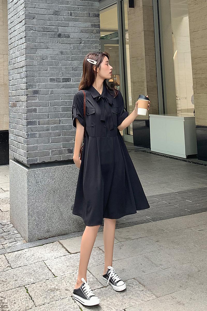 大货已出 黑色连衣裙夏收腰雪纺时尚连衣裙188 55p85k控138