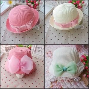 韩春夏季女宝宝儿童婴儿草帽太阳帽遮阳帽防晒帽沙滩帽亲子帽