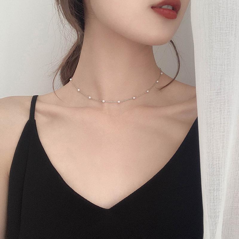 夏季新款珍珠颈饰细潮网红日式颈链(用1元券)
