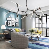 后现代北欧创意客厅餐厅萤火虫设计师工业风个姓楼梯人字树杈吊灯