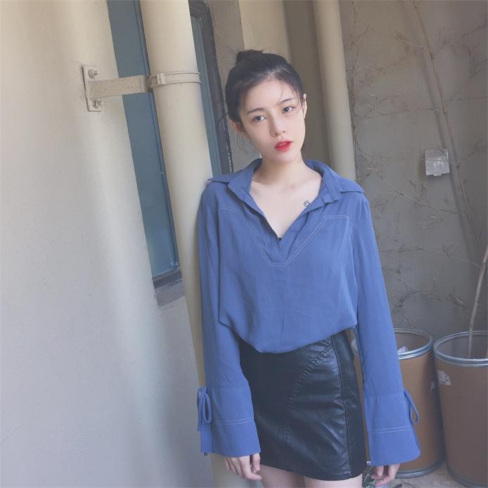 韩版复古简约风港味十足袖口细带宽松显瘦明线长袖套头衬衣雪纺衫