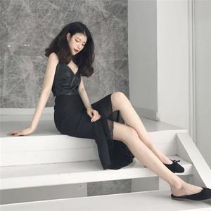 2020春夏新款韩版时尚淑女中长裙雪纺拼接不规则鱼尾黑色半身裙女