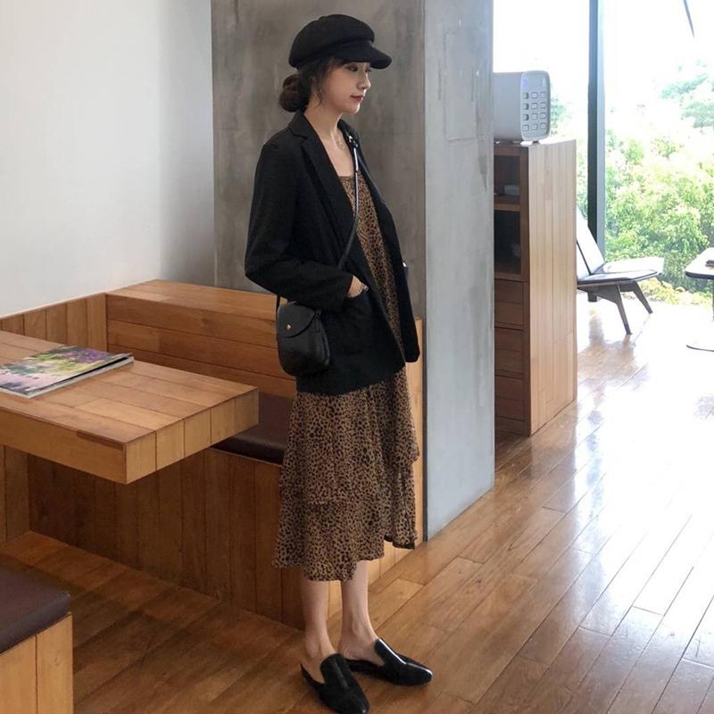 包邮韩风Chic时尚套装豹纹宽松吊带连衣裙女+简约宽松长袖西装两件套