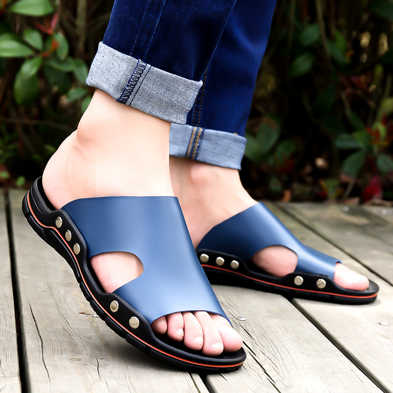 Sandals mens summer antiskid personality trend outdoor leather slippers for men dual purpose casual mens beach sandals