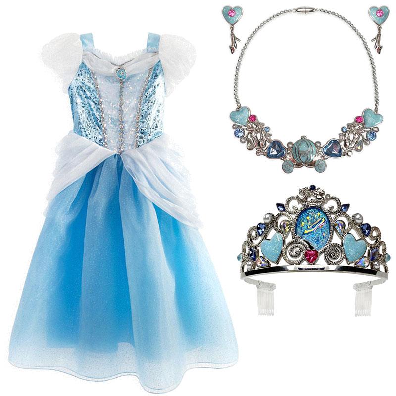 美国迪士尼正版 灰姑娘儿童礼服裙 仙蒂公主皇冠 项链 女孩连衣裙