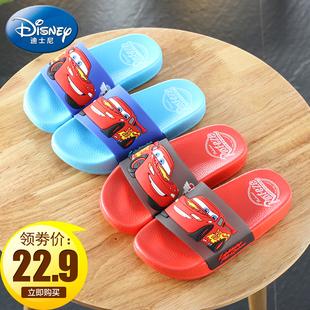 迪士尼麥昆小汽車新款兒童涼拖鞋夏季男孩居家防滑沙灘鞋軟底拖鞋