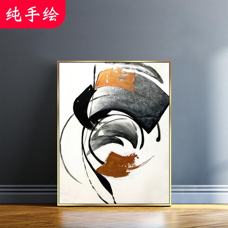 手绘抽象纯手工沙发背景墙轻奢油画