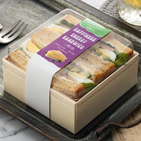 网红三明治一次性木质正方形包装盒
