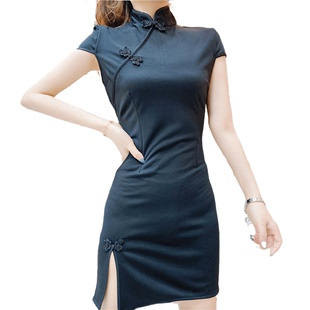 性感改良版旗袍連衣裙夏年輕款少女日常收腰緊身顯瘦開叉學生短裙