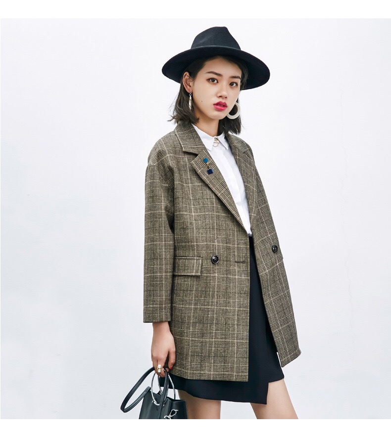 1% off special price clear stock! Wool Plaid Blazer 20 autumn Vintage college style loose jacket with Brooch