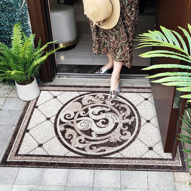 进门地垫 地花防滑入户垫 蹭土垫室外垫 大理石地砖花纹丝圈地毯