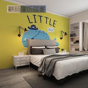 苏粉黛的壁画 小鲸鱼 幼儿园童装店儿童房英文字卡通定制背景墙纸