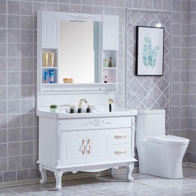 (用20元券)卫生间洗漱台欧式60落地式台面盆柜
