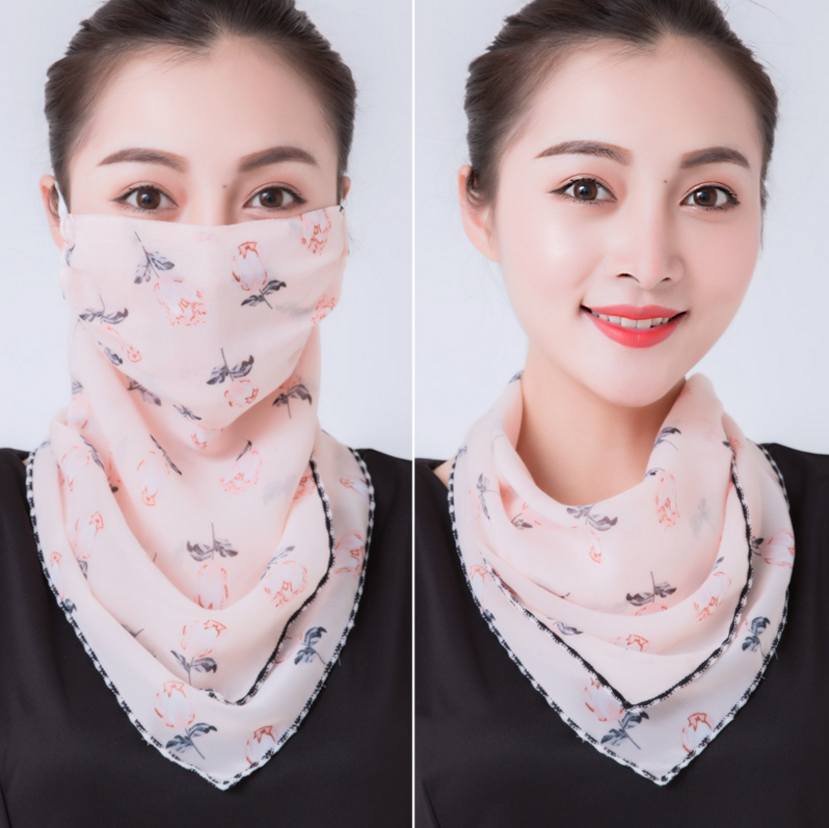 Summer hanging ear scarf thin cycling face mask sunscreen triangle silk scarf neck and neck mask female