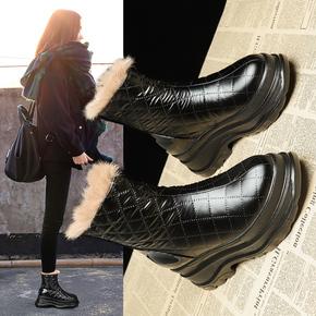 东北雪地靴女冬季短靴子加绒加厚厚底防水2020新款松糕底保暖棉鞋