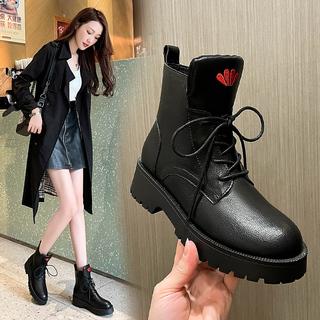 足意尔康真皮马丁靴女2021新款单靴女爆款短靴女马丁靴女秋冬女鞋