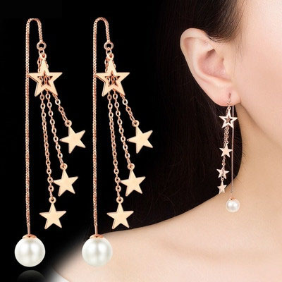 Ear line womens long pearl earrings 2020 new fashion S925 pure silver anti allergy Earrings temperament Tassel Earrings